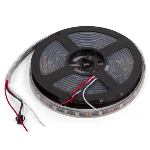 Світлодіодна стрічка, IP67, RGB, SMD 5050, WS2812B, з управлінням, чорна, 5В, 30 д м, 1 м
