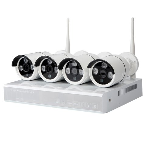 Set of MIPCK0410 Network Video Recorder and 4 Wireless IP Surveillance Cameras 720p, 1 MP